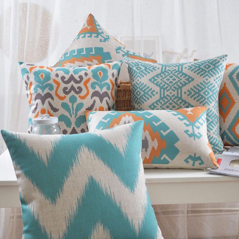 poduszki-dekoracyjne-allegro-ozdobne-turkusowe-ikat