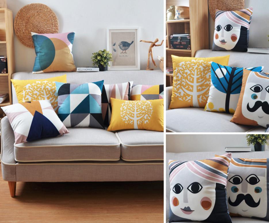 """<img src=""""poduszki dekoracyjne loftowy scandi minimalizm hipster nowoczesny""""alt=""""poduszki skandynawskie wzory ludowe twarze""""/>"""