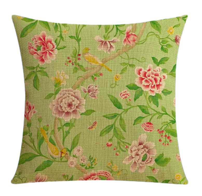 """<img src=""""poduszki dekoracyjne.jpg"""" alt=""""poduszki dekoracyjne zielone kwiaty retro""""/>"""