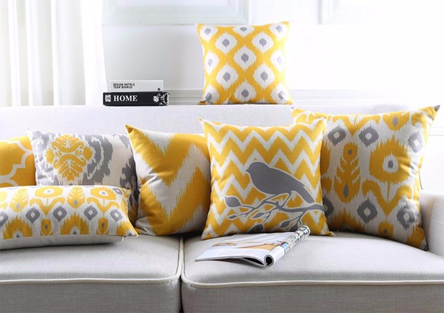 poduszki_dekoracyjne_allegro_modne_ikat_żółte_