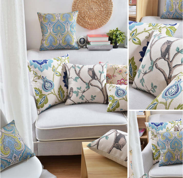 Komplet poduszek w kwiaty, motywy zwierzęce