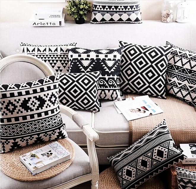 modne poduszki loft etno scandi czarno-białe