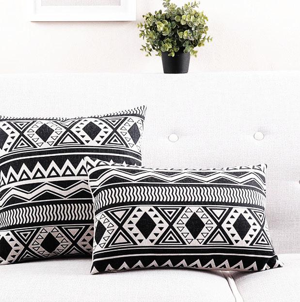 modne poduszki poduszka skandynawski etno białoczarne