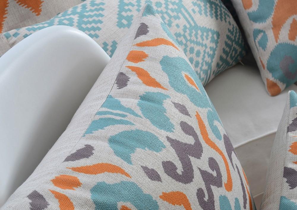 poduszki ikat dekoracyjne allegro modne turkusowe