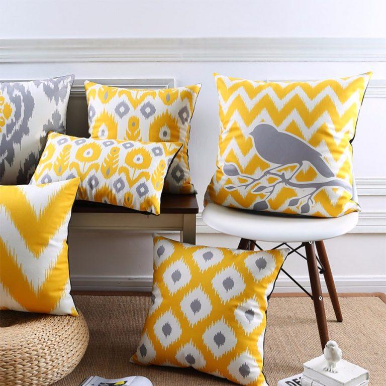 poduszki dekoracyjne ozdobne żółtoszare